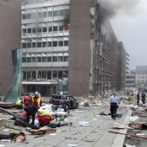 Oslos regeringskvarter, hvor Breviks bombe sprang.