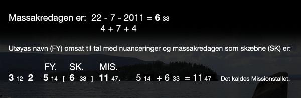 Utøyas navn (FY) omsat til tal med nuanceringer og massakredagen som skæbne (SK)